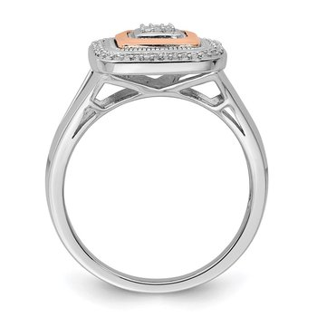 Sterling Silver Rhodium & 14K Rose Gold Ring