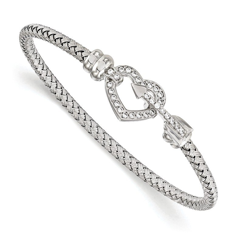 Leslie's Leslie's Sterling Silver CZ Heart Rhodium-plated Bangle