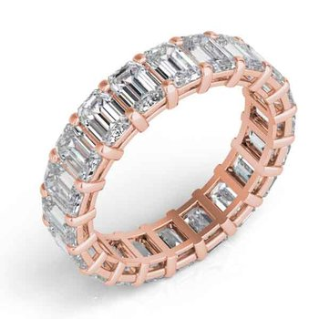 18K Rose Gold Emerad Cut Eernity Band