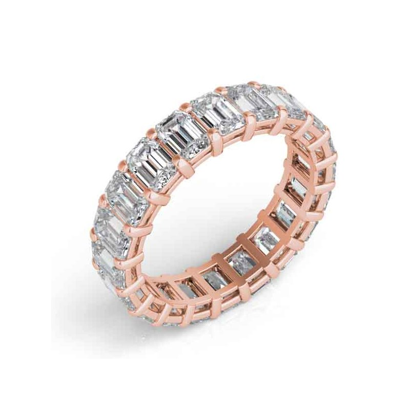 S. Kashi & Sons Bridal 18K Rose Gold Emerad Cut Eernity Band