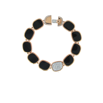 18Kt Gold Bracelet With Black Jade And Diamonds