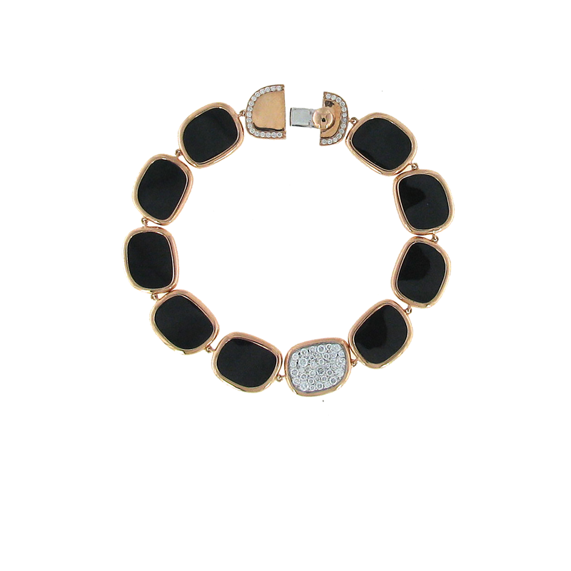 Roberto Coin 18KT GOLD BRACELET WITH BLACK JADE AND DIAMONDS
