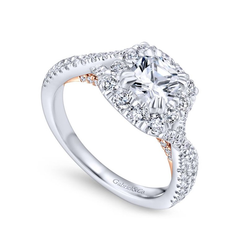 Gabriel Bridal 14K White-Rose Gold Cushion Halo Diamond Engagement Ring