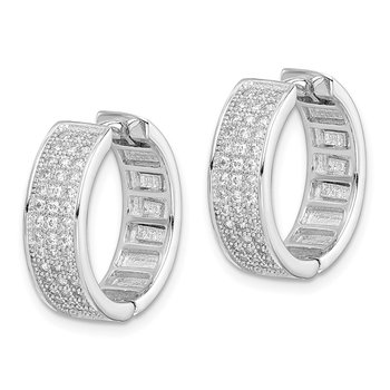 Sterling Silver Polished Rhodium-plated 3-row Hinged Hoop Earrings