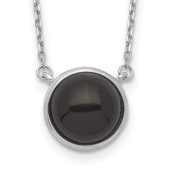 Sterling Silver Rhodium-plated Round Onyx Cabochon Necklace