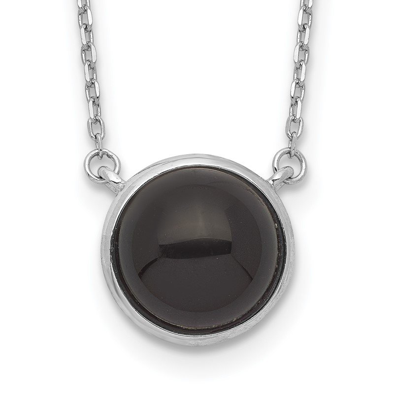 Quality Gold Sterling Silver Rhodium-plated Round Onyx Cabochon Necklace