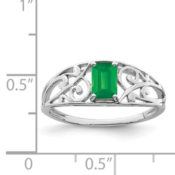 Sterling Silver Rhodium Plated Emerald Ring