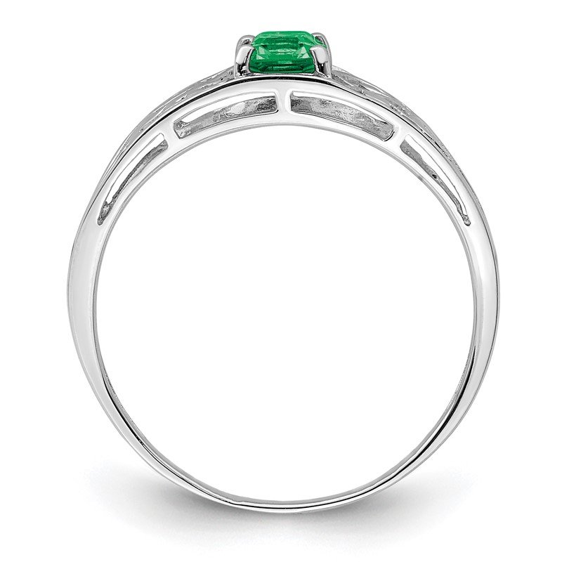 Quality Gold Sterling Silver Rhodium Plated Emerald Ring