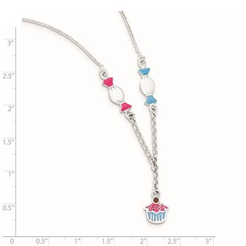 Sterling Silver Enamel Garnet Candy & Ice Cream Childs Necklace