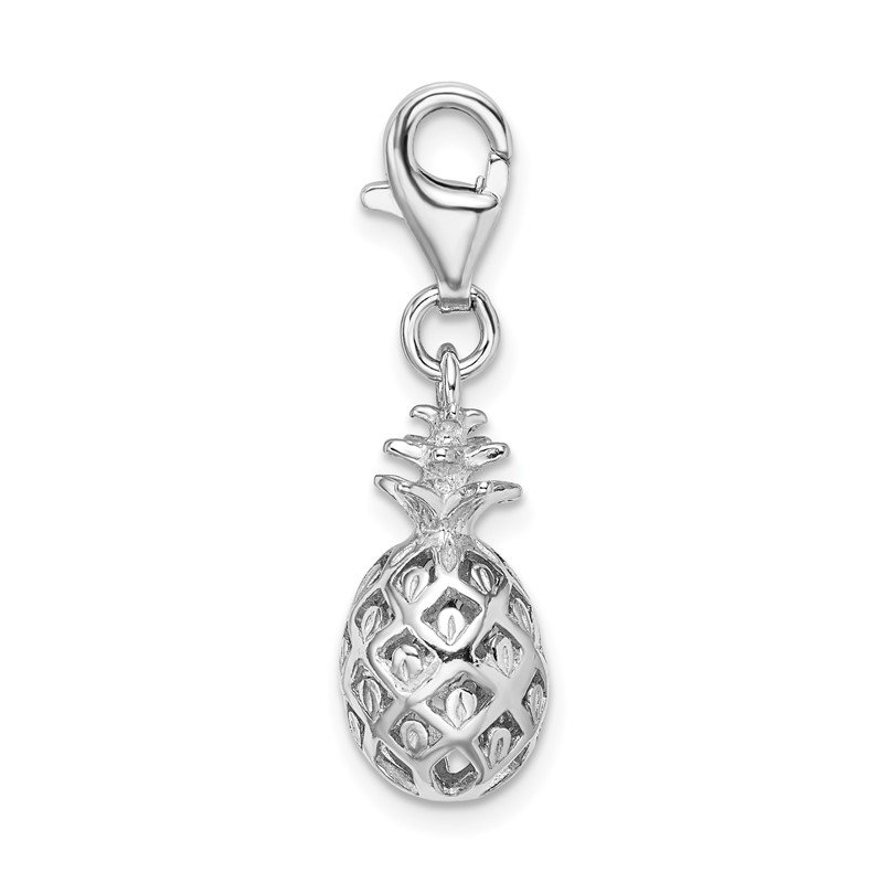 Quality Gold Sterling Silver Amore La Vita Rhodium-plated Polished Pineapple Charm