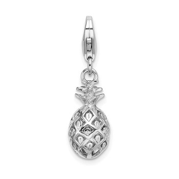 Sterling Silver Amore La Vita Rhodium-plated Polished Pineapple Charm