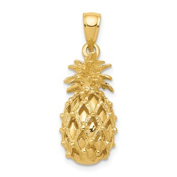 14k 3-D Cut-Out Pineapple Pendant