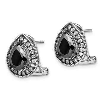 Sterling Silver Rhod-plated Black/ White CZ Omega Earrings