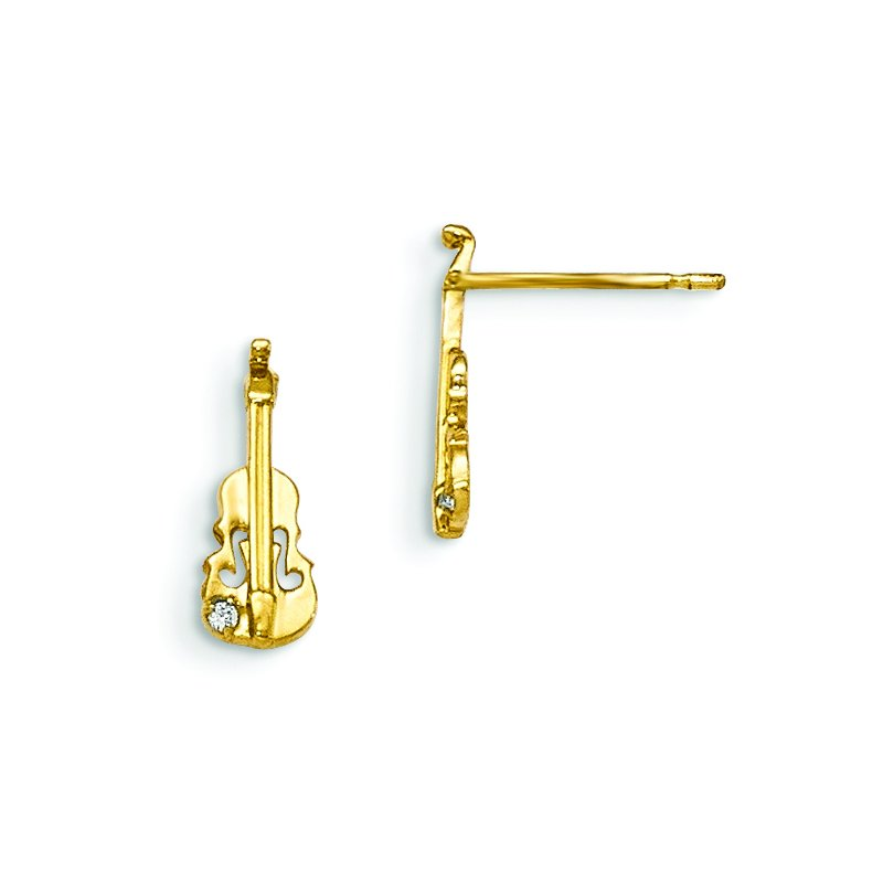 Quality Gold 14k Madi K CZ Children's Violin Post Earrings