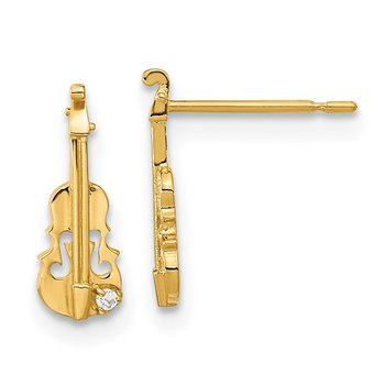 14k Madi K CZ Children's Violin Post Earrings