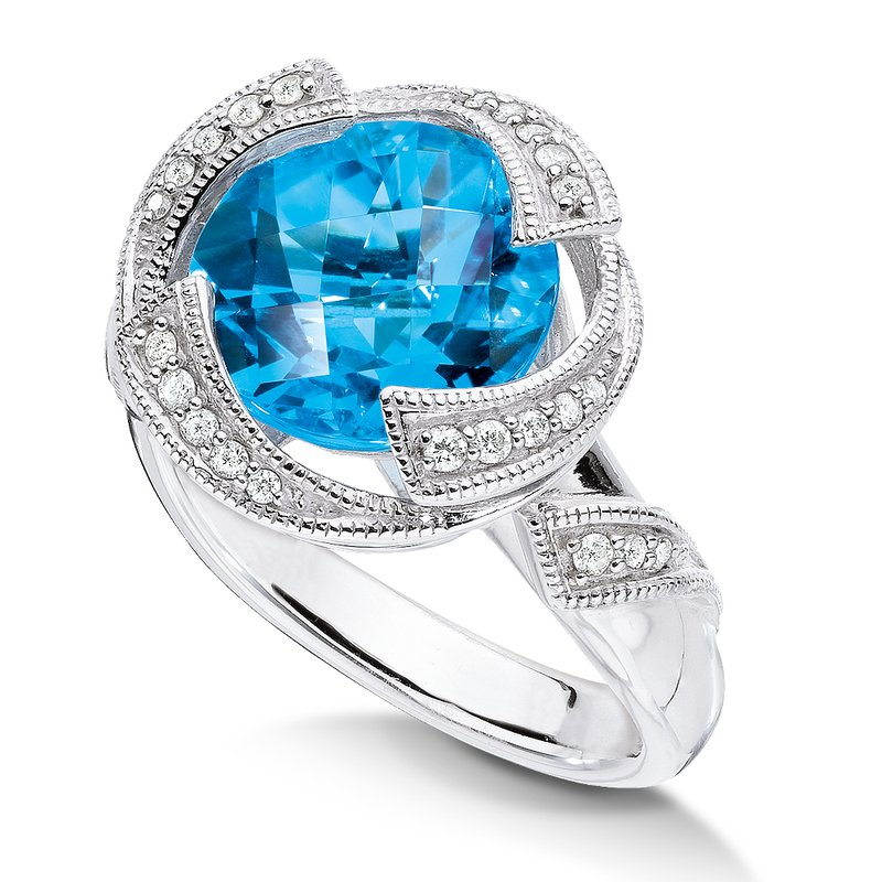 Sterling silver, blue topaz and diamond ring