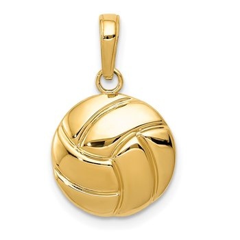 14K Gold Polished Volleyball Pendant