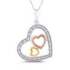 Essentials 10K Three Tone Gold .08 ct White Diamond Heart Pendant with Chain