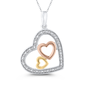 10K Three Tone Gold .08 ct White Diamond Heart Pendant with Chain