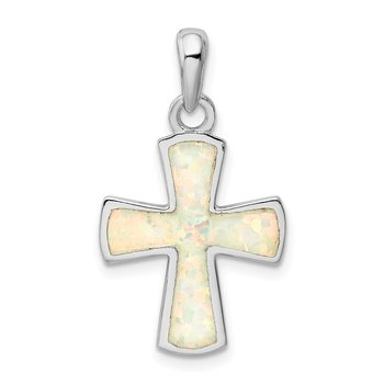 Sterling Silver Rhodium-plated White Lab Created Opal Cross Pendant