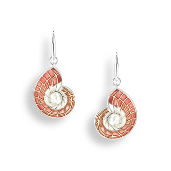 Pink Nautilus Wire Earrings.Sterling Silver-Freshwater Pearls - Plique-a-Jour