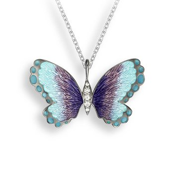 Blue Butterfly Necklace.Black Rhoidum Plated Sterling Silver-White Sapphire