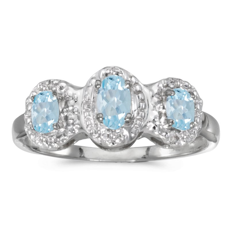 Color Merchants 14k White Gold Oval Aquamarine And Diamond Three Stone Ring