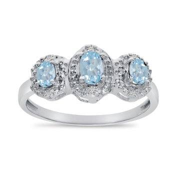 14k White Gold Oval Aquamarine And Diamond Three Stone Ring