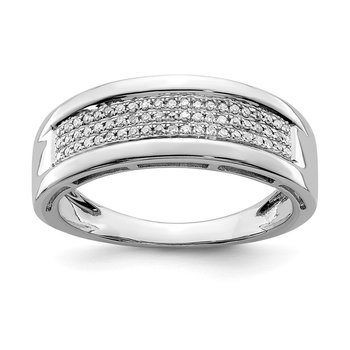 Sterling Silver Rhodium Diam. Ladies Band