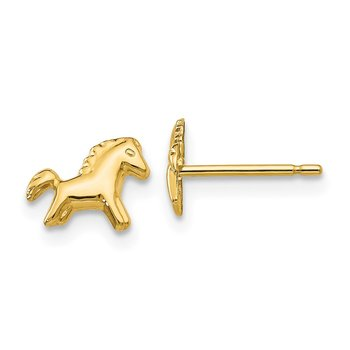 14k Polished Horse Post Earrings