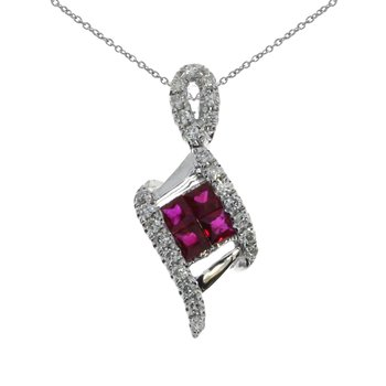 14K White Gold Ruby Angled Pendant