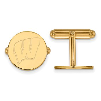 Gold-Plated Sterling Silver University of Wisconsin NCAA Cuff Links