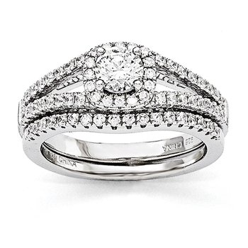 SS Rhodium-Plated CZ Brilliant Embers 2 Piece Wedding Ring Set