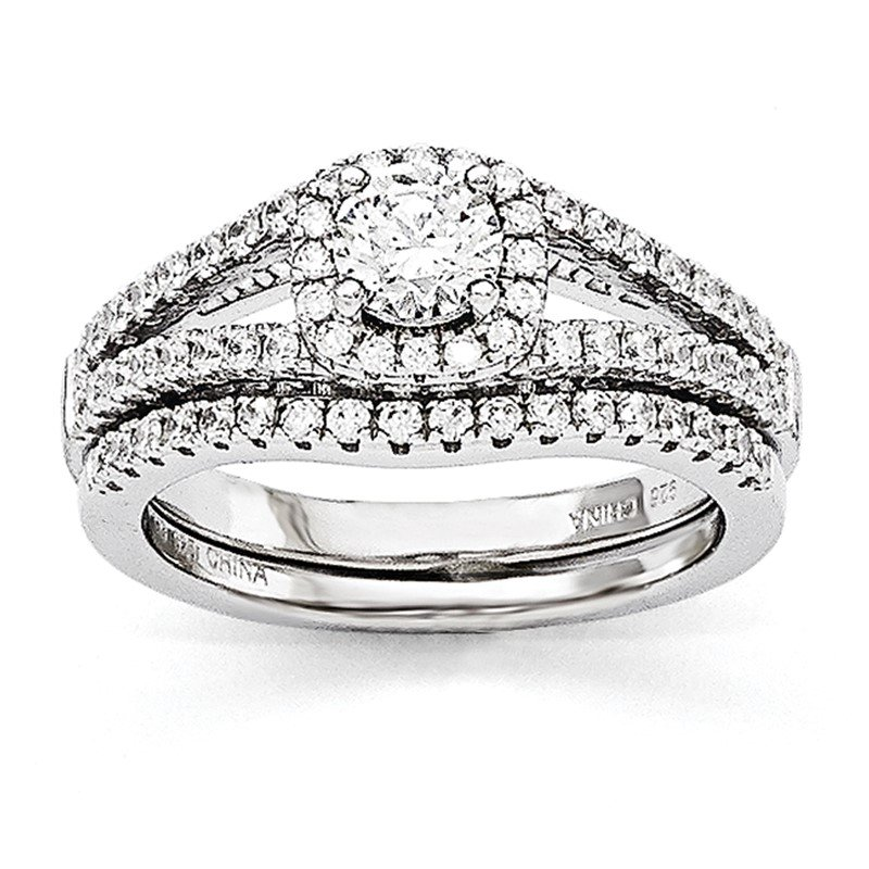 Quality Gold SS Rhodium-Plated CZ Brilliant Embers 2 Piece Wedding Ring Set