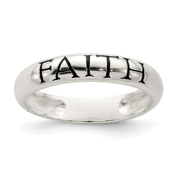 Sterling Silver Antiqued & Polished Faith Ring