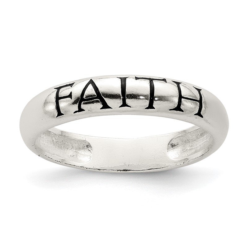 Quality Gold Sterling Silver Antiqued & Polished Faith Ring