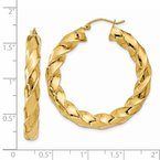 Quality Gold 14k Polished 5.0mm Twisted Hoop Earrings
