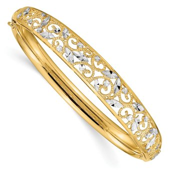 14K w/White Rhodium Diamond-cut Graduated Hinged Bangle Bracelet