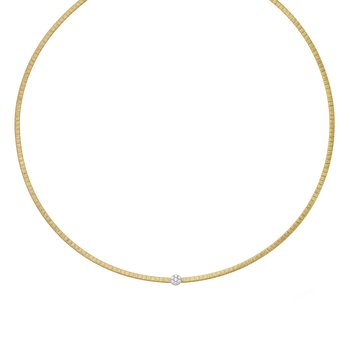 14K Gold Satin Italian Silk Diamond Necklace