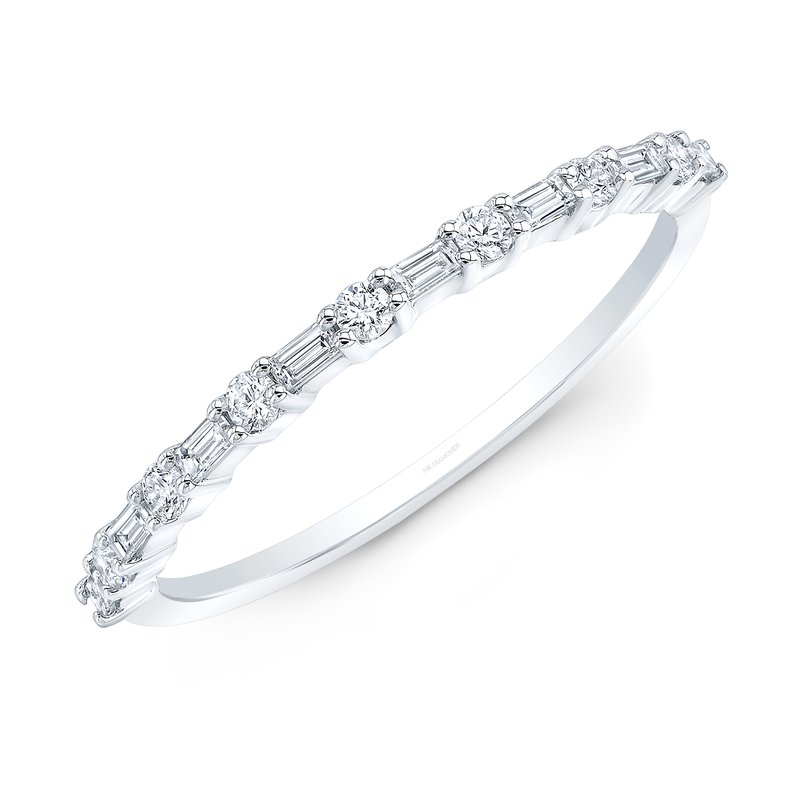 Robert Palma Designs White Gold Baguette Stackable Band