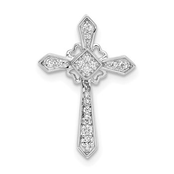 Sterling Silver Rhodium-plated CZ Cross Chain Slide