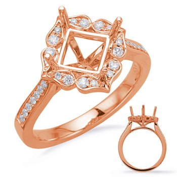 Rose Gold Halo Engagement Ring 5mm