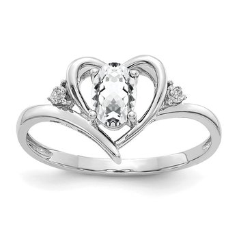 14k White Gold White Topaz and Diamond Heart Ring