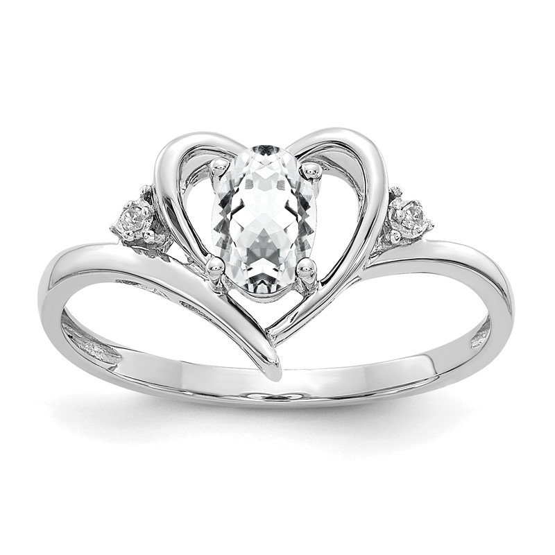 Quality Gold 14k White Gold White Topaz and Diamond Heart Ring