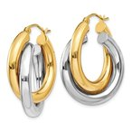 Quality Gold 14k Two-tone Polished Double Tube Hoop Earrings