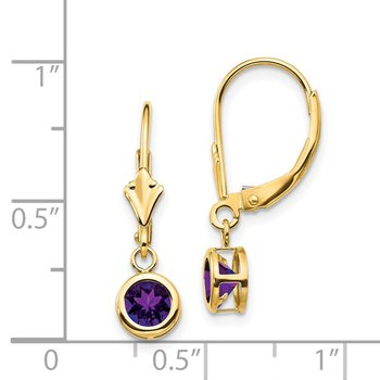 14k 5mm Amethyst Leverback Earring