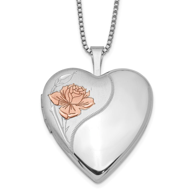Quality Gold Sterling Silver Rhodium-plated 20mm Enamel Rose Heart Locket Necklace