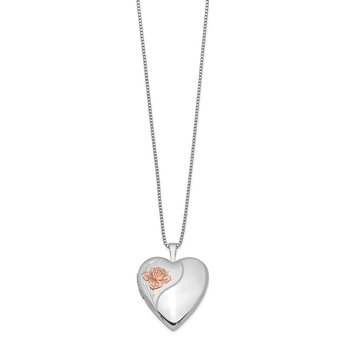 Sterling Silver Rhodium-plated 20mm Enamel Rose Heart Locket Necklace