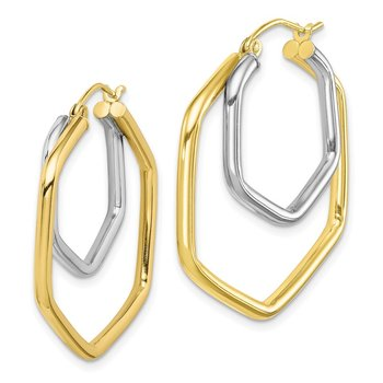 10k Two-tone Polished Hoop Earrings