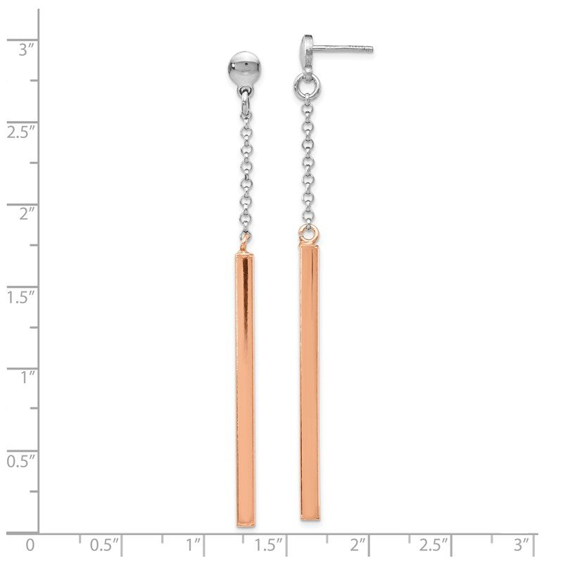 Leslie's Leslie's Sterling Silver Fancy Rose-tone Bar Earrings